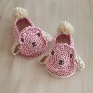 Shoes Booties Bunny Rabbit Lop Pink Beige Crochet Baby Footwear Pom Pom Tail
