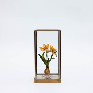 Daffodil device display soft mounted hand-made cloth plant design metal glass cover