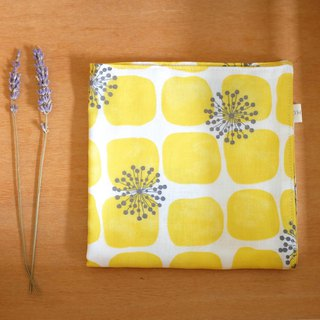 Everyday small square flower double cotton yarn towel sun yellow