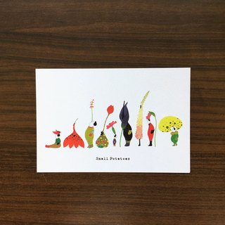 Small Potatoes postcard / million flower people / flower / color