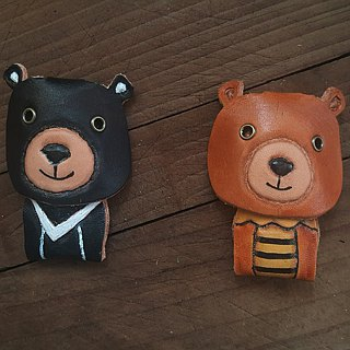 Cute Taiwan black bear pure leather key ring - can be engraved name (made lover, birthday gift)