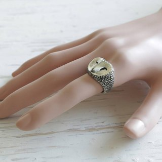 owl Bird Biker Ring Skull sterling silver Celtic tattoos old school Vintage man