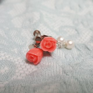 Pink roses pearl clip-on earrings