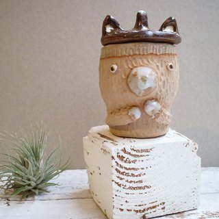 Hand-made pottery fox ear cap bear sauce jar / storage cup