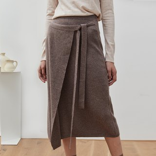 DING brown full wool over the knee knit skirt irregular lace with plain loose design skirt