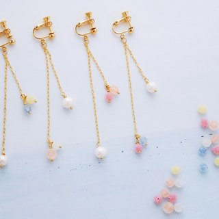 Gold candy - earrings - freshwater pearl candy beads earrings
