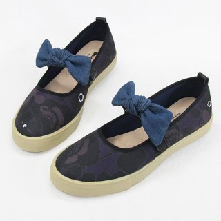 Big girl poppies doll casual shoes - dark blue / big bow women's shoes