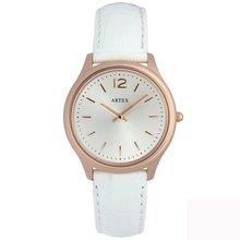 ARTEX 5605真皮手錶-白/ 玫瑰金33mm