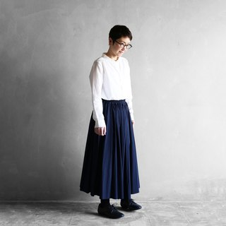 Copy soft cotton long skirt [navy]