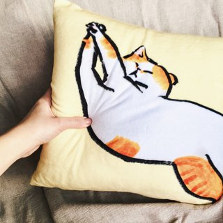 Stretching pussy goose yellow square short plush small pillow
