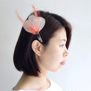 Sweet Tea Time - Pink White Feather Hairpin