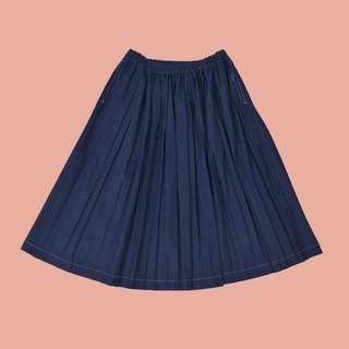 YIZISTORE new half-length denim skirt wild fashion pleated skirt lotus leaf