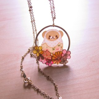 Bear doll // 2nd use Accessories / Accessories Cloth / cloth necklace / camouflage Russian doll series