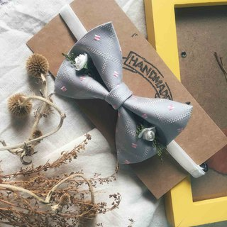 Marriage Graduation Gift - Antique Cloth Tie Tie Handmade Bow Tie - Pink Warm Gray - Rose Edition