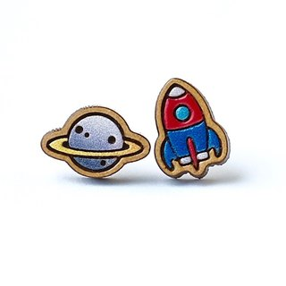 Painted  wood earrings-Planet & Rocket (silver planet)