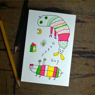 Convex plate printed fluorescent color postcard | caterpillar child