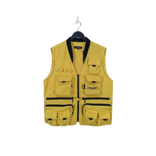 A‧PRANK :DOLLY :: Vintage Reflective Yellow and Black Ribbed Waterproof Outdoor Vest T805125