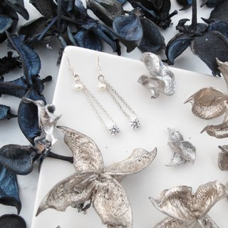 Big staff Taipa [handmade silver] pearl × zircon × fashion bright silver earrings