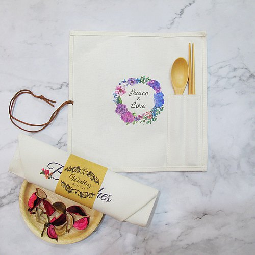 Customized - chopsticks spoon portable storage cotton canvas bag set - wedding small objects - purple wreath C