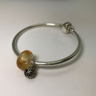 925 Silver Citrine Precious Stones Bracelet - Faceted Rondelle Silver Bell
