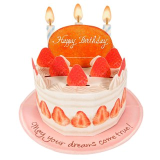 Strawberry Cream Birthday Cake [Hallmark - Stereo Card Birthday Blessing]