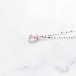 ::Silver Mine Series - Limited Edition :: Strawberry Crystal Sterling Silver Shimmer Cutting Clavicle Chain