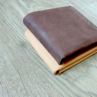 Simple style x handmade real leather wallet (brown)