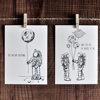 Affectionate Series Card - Spaceman / Postcard