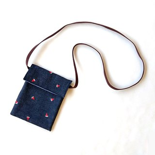 Three-dimensional watermelon embroidery cross-body bag (square cover) / mobile phone bag storage bag