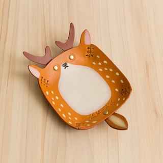 Animal Series - Hand-painted leather small cap / jewelry storage / (Taiwan endemic species - sika deer)