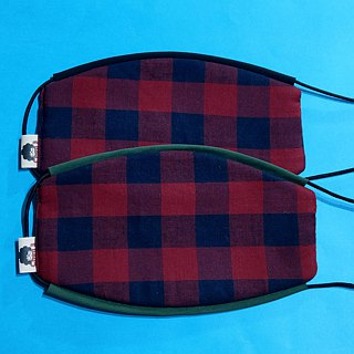 Red and black plaid handmade limited edition masks comfort / breathable / washable