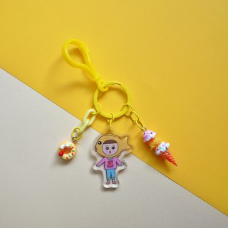 Yellow / / cheese squid - fructose hand made charm / key ring