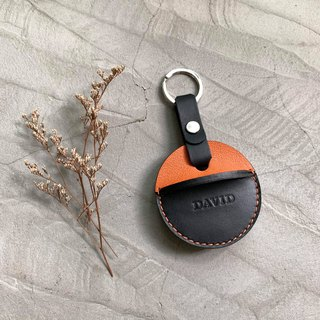 KAKU handmade leather gogoro key leather case custom key ring style orange + black