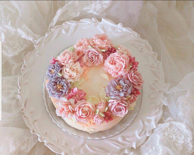 4吋. 6吋.8吋 豆沙裱花蛋糕-花環型 (限台北面交)