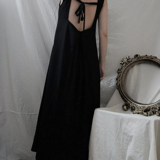 square collar sleeveless dress 方領后繫帶無袖連衣裙