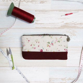 Red flowers  - cosmetic zipper  pencil bag