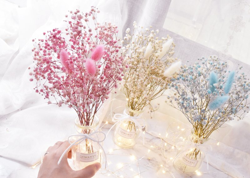 Goody bag dry flower vase LED lights eternal flower arrangement Christmas arrangement wedding