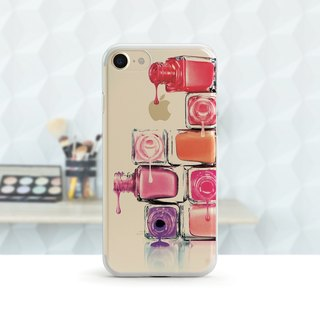 Embossed Nail Polish - Transparent Soft Shell - iPhone X, iPhone 8, iPhone 7, iPhone 7 plus, iPhone 6