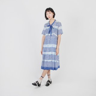 [Egg Plant Vintage] Aqua Girl Printed Cotton Vintage Dress
