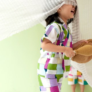 Jump Plaid - Summer Children's Japanese Flat / Bathrobe # Three models