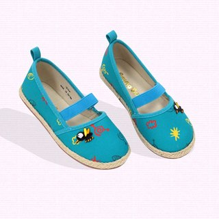 Ramie Cotton fabric Mary Janes shoes –  Blue - The sound of the mosquito.