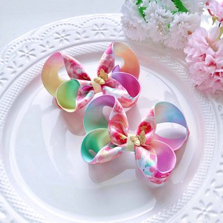 Watercolor Smudge Ribbon Gradient Butterfly Child Child Hairpin