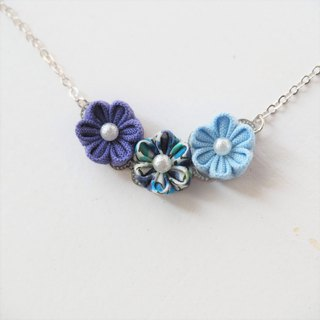 Lovely Blue Fabric Flowers Rhodium plated Chain Necklace custom