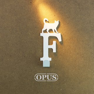 [OPUS Eastern Metalworking] When the cat met the letter F - hook (elegant white) / Mural hook / furniture rack / living storage / hanger / modeling hook / trace / small wedding HO-ca10-F )