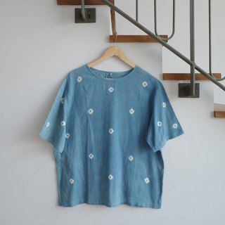 linnil: Indigo dot short-sleeve shirt
