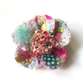 Corsage brooch No.8  brooch accessory embroidery tweed beads colorful