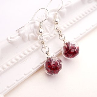 A Handmade red glass ball hanging crystal ear hook
