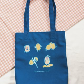 #Mr. Lazy Lemon  canvas hand& shoulder bag/ tote bag