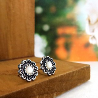 Earrings Vintage Gemstone - White Dream Flower 925 Sterling Silver Earrings
