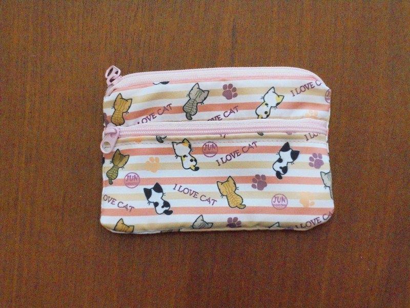 雙層零錢包-粉紅條紋貓咪